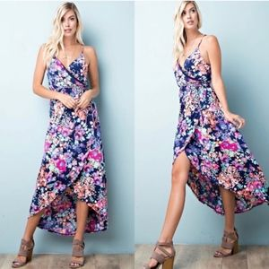 MAIRA Floral Print Maxi Dress - NAVY MIX